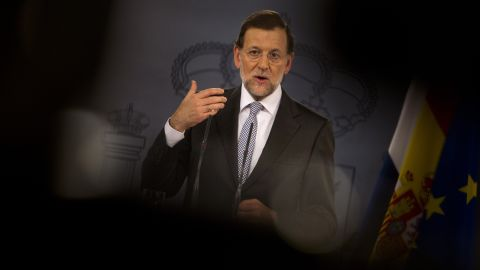 """Spain's Prime Minister Mariano Rajoy gives a press conference on September 11, 2012. The conference followed Finnish Prime Minister Jyrki Katainen backing Spain and calling the crisis """"unfair."""""""