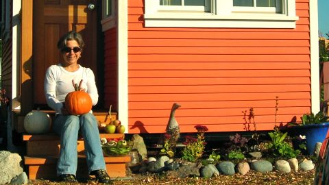 """Living in a cozy 200 square foot home in Point Roberts, WA, Jamie Dehner says less is more. """"A small space is easy to clean, heat and there's a wonderful coziness about it,"""" she says. """"Who would think that such a small space could be an outlet for so much expression?""""<a href=""""http://ireport.cnn.com/docs/DOC-816103""""> Learn more about her tiny home experience on Jamie Dehner's iReport.</a>"""