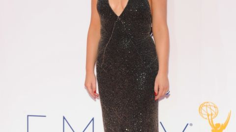 Amy Poehler went with a saucy low-cut gown at the 2012 Emmys.