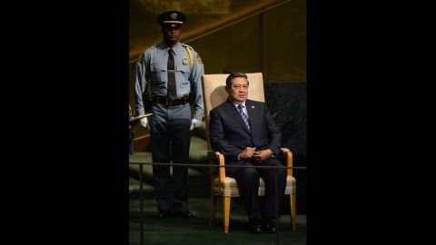 Indonesia's President Susilo Bambang Yudhoyono waits to address the General Assembly on Tuesday.