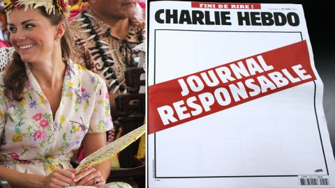 """Pictured is Catherine, UK's Duchess of Cambridge, and a blank cover of Charlie Hebdo with """"Responsible Newspaper"""" on red."""