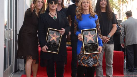 Heart's Ann Wilson, left, and Nancy Wilson receive a star on the Hollywood Walk of Fame on Tuesday.