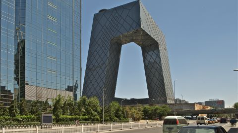 """The CCTV building in Beijing, China, designed by Rem Koolhaas and German architect Ole Scheeren took 10 years to complete. It is known locally as """"The Big Pants."""""""