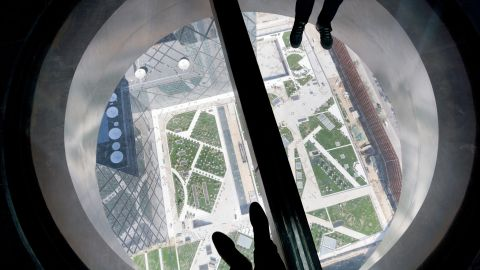 """A view from a portal reveals the tower's height, although Koolhaas says his skyscraper is """"a big building which, rather than consume a space, creates a space""""."""