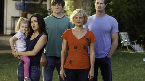 """Martha Plimpton, second from right, who plays Virginia on """"Raising Hope,"""" will clean one fan's house to promote the Fox show."""