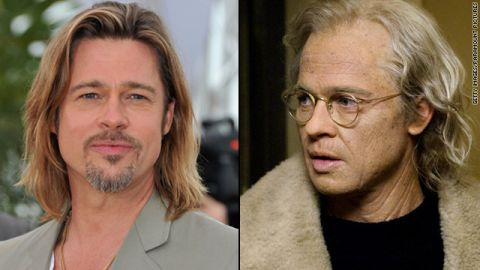 """For his role as a man who aged in reverse in """"The Curious Case of Benjamin Button,"""" Brad Pitt """"had to endure the most complicated and time-consuming makeup effects,"""" sometimes spending five hours at a time in the makeup chair, producer Frank Marshall <a href=""""http://www.variety.com/article/VR1117996923?refcatid=3470"""" target=""""_blank"""" target=""""_blank"""">told Variety</a> in 2008."""