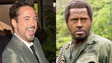 """Even if you don't remember 2008's """"Tropic Thunder,"""" you likely recall that Robert Downey Jr. was in blackface for his role. The controversial makeup choice <a href=""""http://www.ew.com/ew/article/0,,20182058,00.html"""" target=""""_blank"""" target=""""_blank"""">was reflective of</a> the lengths that Downey's method actor character, Kirk Lazarus, would go to portray a Vietnam War sergeant who was initially written as African-American."""