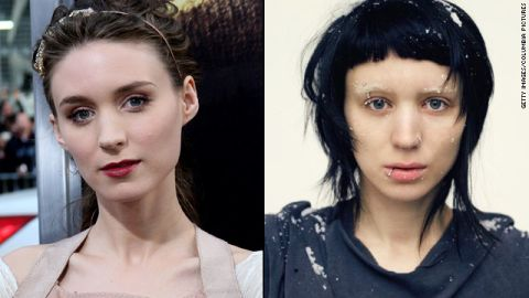 """When she landed the part of Lisbeth Salander in 2011's """"The Girl With the Dragon Tattoo,"""" fresh-faced <a href=""""http://marquee.blogs.cnn.com/2011/01/13/rooney-mara-goes-goth-for-dragon-tattoo-role/?iref=allsearch"""">Rooney Mara got</a> a severe haircut in an inky hue, bleached her brows and pierced her nose, lip, eyebrow and nipple."""