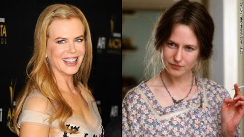 """Nicole Kidman nabbed a best actress Oscar for her portrayal of Virginia Woolf in 2002's """"The Hours."""" But the makeup job that changed her appearance -- aided greatly by a prosthetic nose <a href=""""http://www.nytimes.com/2003/02/15/movies/the-nose-was-the-final-straw.html?pagewanted=all&src=pm"""" target=""""_blank"""" target=""""_blank"""">that stirred debate</a> -- <a href=""""http://www.people.com/people/article/0,,625543,00.html"""" target=""""_blank"""" target=""""_blank"""">didn't receive a nod.</a>"""