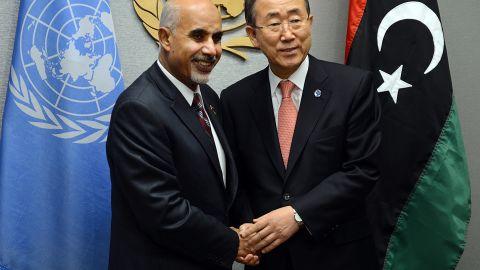United Nations Secretary-General Ban Ki-moon and Libyan President Mohamed al-Magariaf meet on Friday.