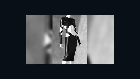 This latex dress by Norma Kamali displays skillful cutting.