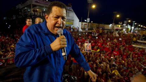 Venezuelan President Hugo Chavez delivers a speech during a campaign rally in Monagas, in northeastern Venezuela, on September 28, 2012. Chavez is seeking a third six-year term, and polls place him ahead of rival Henrique Capriles in the October 7 vote. AFP PHOTO/JUAN BARRETO (Photo credit should read JUAN BARRETO/AFP/GettyImages)
