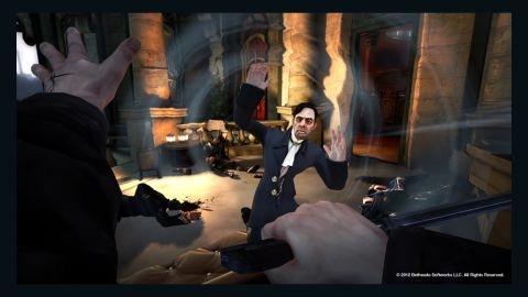 """""""Dishonored,"""" a stealth adventure game set in a grimy industrial city, offers a first-person perspective and an emphasis on player choice."""