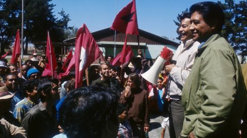 Labor and civil rights activist Cesar Chavez, seen here at a 1977 rally in Guadalupe, California, will be honored Monday with a 120-acre national monument in his name.