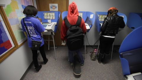 Voters cast their ballots, during early voting at the Wood County Court House in Bowling Green, Ohio on October 2.