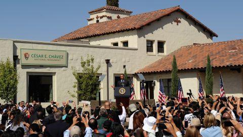 President Barack Obama speaks in 2012 during the announcement of the Cesar E. Chavez National Monument in Keene, California.