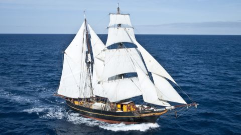 """The 19th century """"Golden Age of Sail"""" could be experiencing a revival. Modern-day cargo ship, Tres Hombres (pictured), is relying solely on wind power for its eight-month voyage to the Caribbean."""
