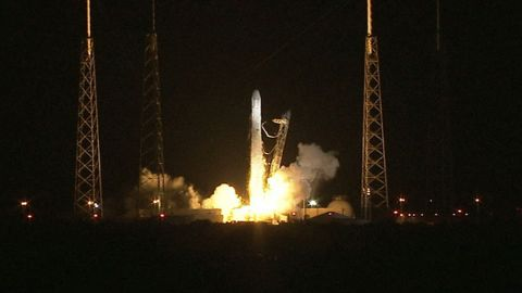 The private company SpaceX sent an unmanned capsule with supplies to the International Space Station on October 7, 2012. It was the first commercial space mission and the first of a dozen commercial cargo flights under a contract with NASA.