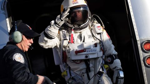 Skydiver Felix Baumgartner undertook a record-breaking free-fall jump from the edge of space.