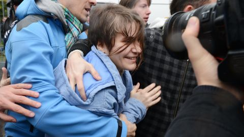 'Pussy Riot,' Yekaterina Samutsevich, outside a court in Moscow, on October 10, 2012, shortly after she was released.
