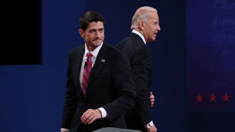 DANVILLE, KY - OCTOBER 11:  U.S. Vice President Joe Biden (L) and Republican vice presidential candidate U.S. Rep. Paul Ryan (R-WI) (R) walk off stage after the vice presidential debate at Centre College October 11, 2012 in Danville, Kentucky.  This is the second of four debates during the presidential election season and the only debate between the vice presidential candidates before the closely-contested election November 6.  (Photo by Justin Sullivan/Getty Images)