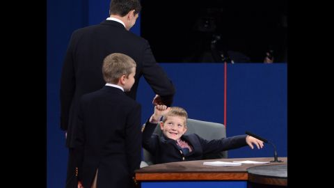 Ryan greets his son Sam after the debate in Danville, Kentucky, on Thursday.