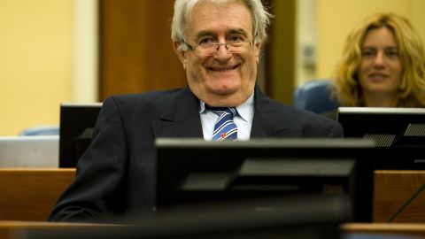 Former Bosnian Serb leader Radovan Karadzic on the first day of his defense against war crime charges in The Hague, Netherlands on October 16, 2012