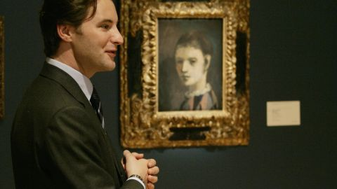 """Pablo Picasso's """"Tete d'Arlequin""""-- pictured here on show at Sotheby's on May 3,2007 -- was one of seven paintings stolen from an exhibition at the Kunsthal Rotterdam museum on October 16, 2012."""