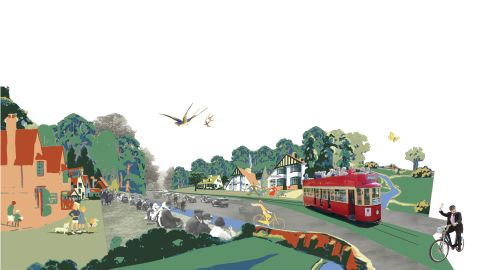 """Sprucing up London's arterial routes was Ireland Albrecht's vision with road verges and pavements becoming """"multi-functional landscapes."""""""