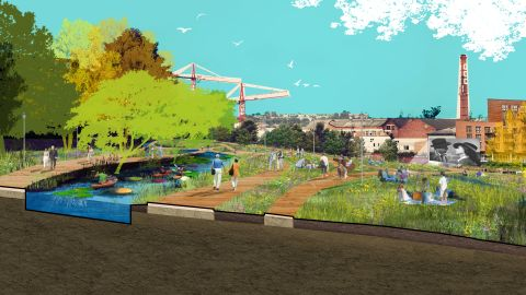 Revitalizing forlorn waterways was proposed by Place Design + Planning.