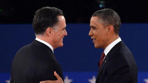 U.S. President Barack Obama and Republican presidential nominee Mitt Romney shake hands.6.