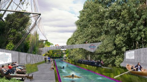 Runner-up in the competition was this idea for a new public swimming facility on the Regent's Canal running from Little Venice to Limehouse.