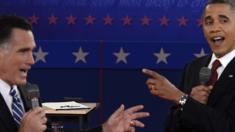 President Obama and Romney clash during the debate.