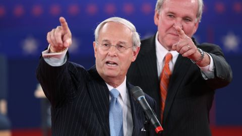 Co-chairs Frank Fahrenkopf, left, and Mike McCurry of the Commission on Presidential Debates speak in the lead up to the town hall-style debate.