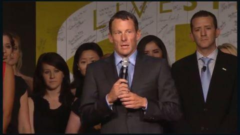 Lance Armstrong speaks at  15: An Evening with LiveStrong, celebrating the 15th anniversary of the organization he founded, on Friday, October 19, 2012, in Austin, Texas.