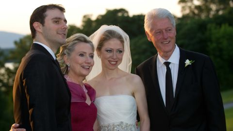 The Clintons pose on the day of Chelsea's wedding to Marc Mezvinsky in July 2010.