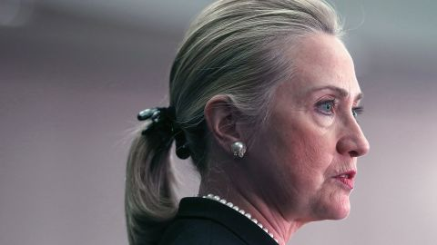 """U.S. Secretary Hillary Clinton speaks about North Africa, at the Center for Strategic & International Studies, on October 12, 2012 in Washington, DC. Secretary Clinton delivered a speech that was billed as """"U.S. Strategic Engagement with North Africa in an Era of Change""""."""