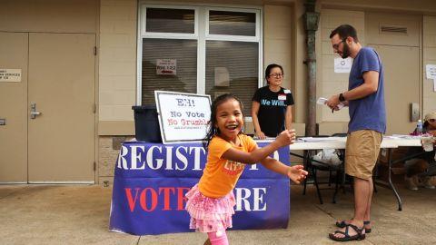 Kanu Hawaii, a volunteer group, registers new voters in Honolulu.