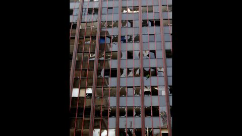 A damaged building is pictured in Beirut's predominantly Christian district of Ashrafiyeh on Saturday.