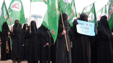 Pakistani activists of the Islamic Sunni Tehreek party carry flags at a rally in Islamabad on Sunday, October 14, 2012.