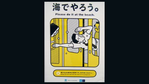 Subway operators, Tokyo Metro has posters plastered around their stations reminding passengers of their manners while using the services.
