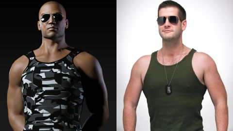 """Marcus Dickinson, right, has dropped 45 pounds and toned up to become more like his online persona, Roc Wieler from """"<a href=""""http://www.eveonline.com/"""" target=""""_blank"""" target=""""_blank"""">EVE Online</a>."""""""