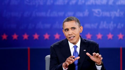 BOCA RATON, FL - OCTOBER 22:  U.S. President Barack Obama debates with Republican presidential candidate Mitt Romney (not seen) at the Keith C. and Elaine Johnson Wold Performing Arts Center at Lynn University on October 22, 2012 in Boca Raton, Florida. The focus for the final presidential debate before Election Day on November 6 is foreign policy.  (Photo by Mark Wilson/Getty Images)