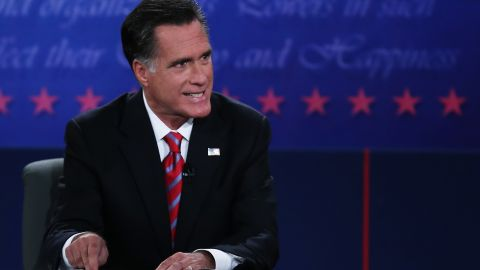 BOCA RATON, FL - OCTOBER 22:  Republican presidential candidate Mitt Romney speaks during a debate with U.S. President Barack Obama at the Keith C. and Elaine Johnson Wold Performing Arts Center at Lynn University on October 22, 2012 in Boca Raton, Florida. The focus for the final presidential debate before Election Day on November 6 is foreign policy.  (Photo by Marc Serota/Getty Images)