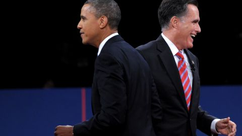 President Barack Obama and Republican presidential candidate Mitt Romney depart the stage after the debate at Lynn University in Boca Raton, Florida, on Monday, October 22. The third and final presidential debate focused on foreign policy. See the best photos from the second presidential debate.