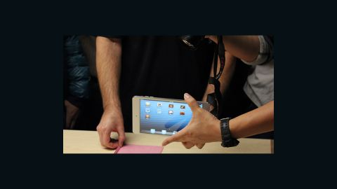 Hands on with the iPad Mini at Apple's press event in San Jose, California on October 23.