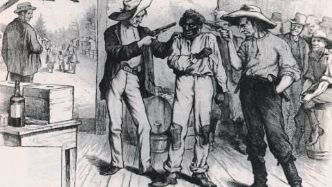This political cartoon highlighting voter intimidation appeared in Harper's Weekly in  1876.