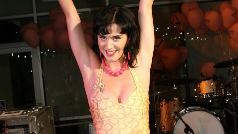 Perry wears an unconventional number to her Los Angeles record release party in June 2008.