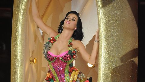 """The singer emerges from a golden banana dressed in this fruity costume while performing """"I Kissed a Girl"""" at the Grammys in February 2009."""