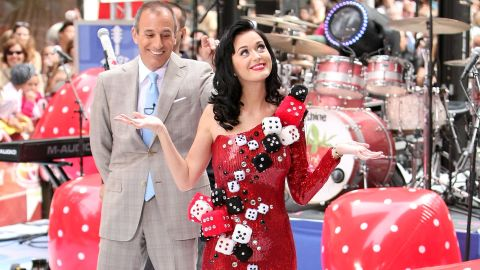 """This """"dicey"""" dress might make more sense in Sin City than the Big Apple, but the """"Waking Up In Vegas"""" singer wears it to perform on NBC's """"Today"""" in July 2009. Anchor Matt Lauer looks amused."""